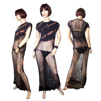 Post Apocalyptic Hand Shredded Tshirt Dress/Beach Cover up /Club Wear OOAK