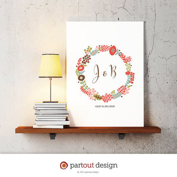 wedding anniversary monogram logo design, name initial printable art print, DIY printable art, home decor, nursery decor, wall art