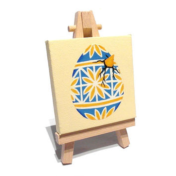 Hatching Pysanka Egg miniature painting - blue and yellow acrylic pysanky art on mini canvas with easel