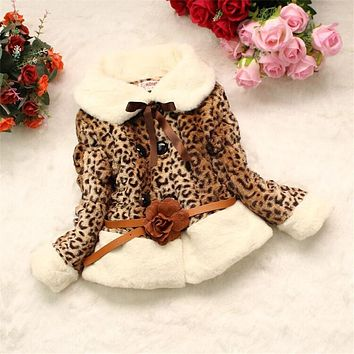 Winter Infant Leopard Faux Fur Fleece Jacket Baby Girl Velvet Thicken Vest Skirt Coat Kids Warm Cotton Padded Clothing Outerwear