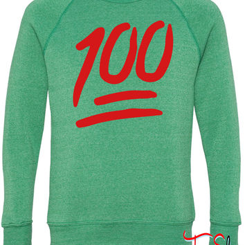 100 emoji fleece crewneck sweatshirt
