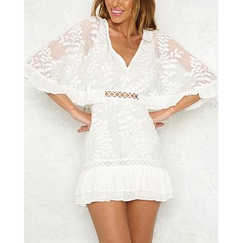 not without my coffee batwing leaf embroidered ruffle trim mini dress in white