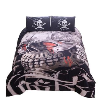 Bedding Set King 3D Skull Printed Cover Bedclothes 3pcs Black Res Home Textiles