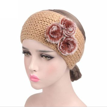 Winter Fashion Women Headbands Knit Fur Pompom Headband Handmade