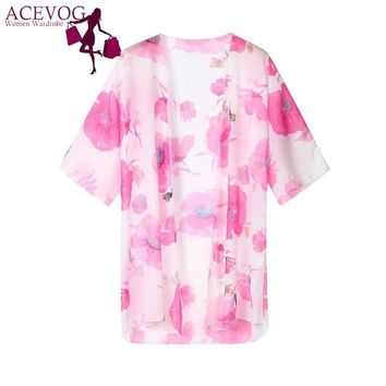 Cover ups Bikini Chiffon Summer Tops Loose Kimono Floral Women Swimwear  Half Sleeves KO_13_1