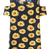 Sunflower Print Cold Shoulder Dress