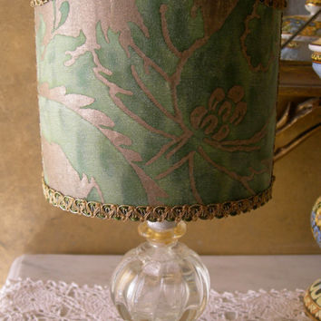 Vintage Murano Glass Table Lamp with Green and Gold Fortuny Fabric Clip On Lamp Shade - Made in Italy