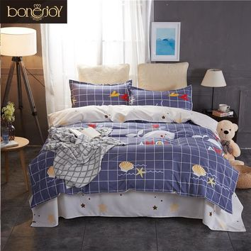 Bonenjoy Queen Bedding Set King Size Blue Plaid Bed Cover Cartoon Starfish Printed Duvet Cover Bedding Linen Sets for Kids