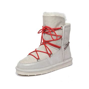 Luxury Winter Sheepskin Snow Boots for Women Natural Sheep Fur ankle Boots Cotton Shoe