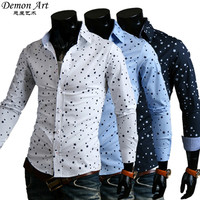 Free Shipping New 2016 Spring Mens Dress Shirts Pentacle Printing Slim Fit Casual Long Sleeve Brand Shirts 3 Colors 9100