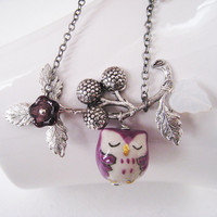 Owl  Necklace. Purple porcelain owl and berry branch in rhodium plated chain