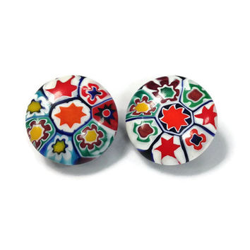 Vintage Earrings, Italian Millefiori Murano Glass Button Clip Earrings