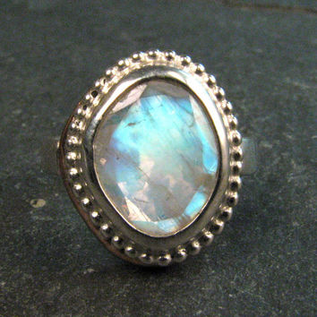 Rainbow Moonstone Gemstone Statement Ring in Sterling Silver and Bronze - Blue Moonstone Cocktail Ring - June Birthstone - Size 7.5