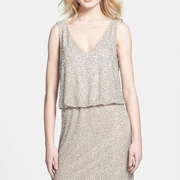 Petite Women's Xscape Beaded Jersey Blouson Dress