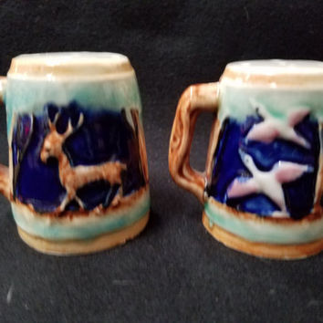 Elegant Hand Painted  Porcelain Stein Style Salt and Pepper Shakers        (1099)