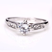 Fashion Plaza Women's Cubic Zirconia Engagement Ring R21 Size 6
