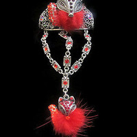 bracelet ring chain link slave set FASHION JEWELRY red crystal fox