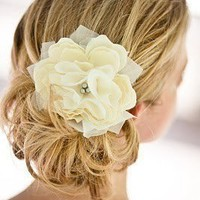 Small Pacific Ivory Peony Bridal Hair Flower with Silver Grey Pearls- Weddings