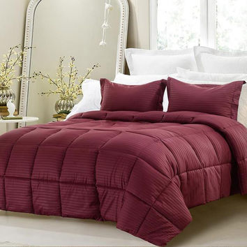 3pc Reversible Solid/ Emboss Striped Comforter Set