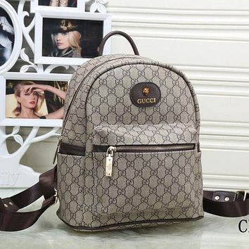 Gucci Trending Women Letter Print Leather Bookbag Shoulder Bag Handbag Backpack Black I