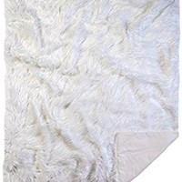 Faux Fur Throw Blanket, Mongolian Long Hair White,