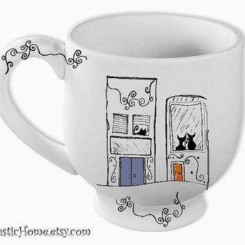 Neighbors large 20 oz mug black cat pottery mug coffee tea kiln fired mugs cat lovers city houses