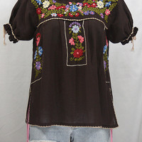 "Hand Embroidered Mexican Peasant Blouse Puff Sleeve: ""La Antiguita"" in Dark Brown"