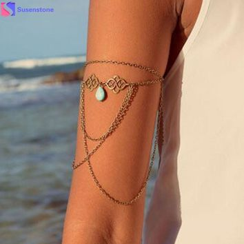 SUSENSTONE Sexy Drop Arm Slave Chain Upper Armband Cuff Armlet Bracelet Body Jewelry Accessory