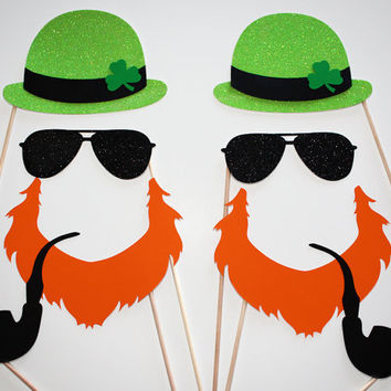 Gangsta Glitter St. Patrick's Day Leprechaun Photo Booth Props - 8 Piece Set