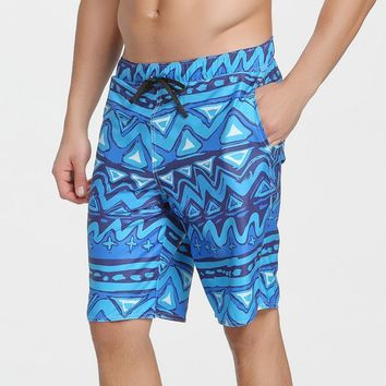 Sbart New  The Waves  Blue Men's Shorts Wave Patterns Half Pants Beach Dry Quick Trunks Surfing Swimming Free Shipping S625