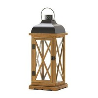 Hayloft Large Wooden Candle Lantern (pack of 1 EA)