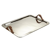 Large Tray with Leather Buckle Handles   Trays and platters   Jung Lee NY