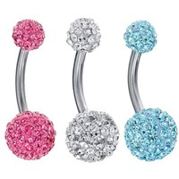 BodyJ4You Belly Ring Crystal Ball Double Gem Clear Pink Aqua Body Piercing Jewelry 3PCS