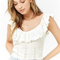 Ruffle Embroidered Eyelet Crop Top