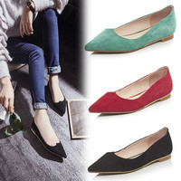 Comfortable Causal Elegant New Summer Shoes Pointed Toe Flat Casual Loafer Shoes [6048881601]
