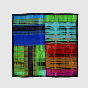 Elegant Mens Pocket Square, Mens Silk Handkerchief, Four-Tone Colour Stripes, Hanky Wedding Party Handkerchief, Gifts for Him