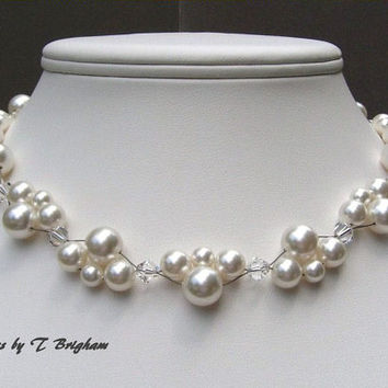Bridal Pearl Necklace Swarovski Pearls and Crystals Woven in White Wedding Jewerly Customizable