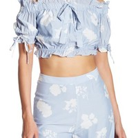 endless rose | Ruffle Trim Off-the-Shoulder Crop Top | Nordstrom Rack
