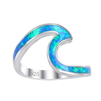 US Ocean Wave Beach Blue Fire Opal Curve .925 Sterling Silver Wedding Band Ring