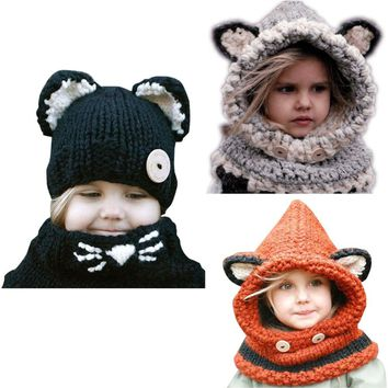New Design Baby Hat Cap Cat Ear Fox Winter Beanie Hat Children Windproof Hat and Scarf Boy Girl Handmade Knitted Cap Skullies