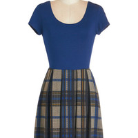 ModCloth Scholastic Short Length Short Sleeves A-line At Your Beck and California Dress in Plaid