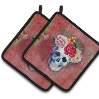 Day of the Dead Red Flowers Skull  Pair of Pot Holders BB5130PTHD