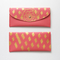 Handpainted Coral Diamond and Gold Clutch Wallet Gems Geometric