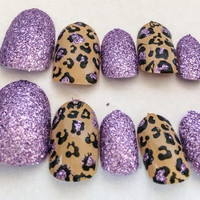 Purple Glitter False Nails Cheetah Print Acrylic Nails Animal Print False Nails