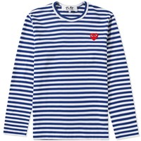 Comme des Garcons Play Long Sleeve Heart Stripe Logo Tee