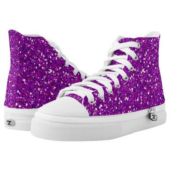 pink purple glitter printed shoes