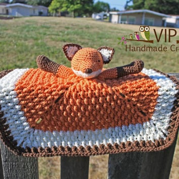 Fox Lovey - Handmade Fox Security Blanket - Crochet Fox Baby Toy