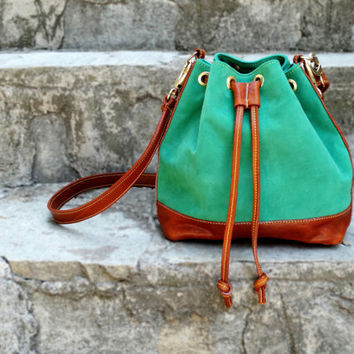 ON SALE Green leather bag, Leather bucket bag, Suede bucket bag, Leather shoulder bag, Green & Brown leather purse