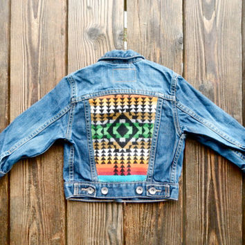 Baby Toddler Vintage Levi's Denim Jacket with Colorful Pendleton Back.  Size 2T / 24M
