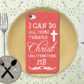 I Can Do All Things Through Christ Who Strengthens Me Pink Rubber Tough Case For iPhone 4/4s and iPhone 5 and 5s and 5c and iPhone 6 and 6 +